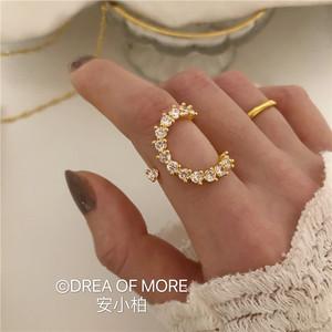 安小柏◆渐变月牙水钻戒指女18k金 复古气质进口欧美法式食指戒
