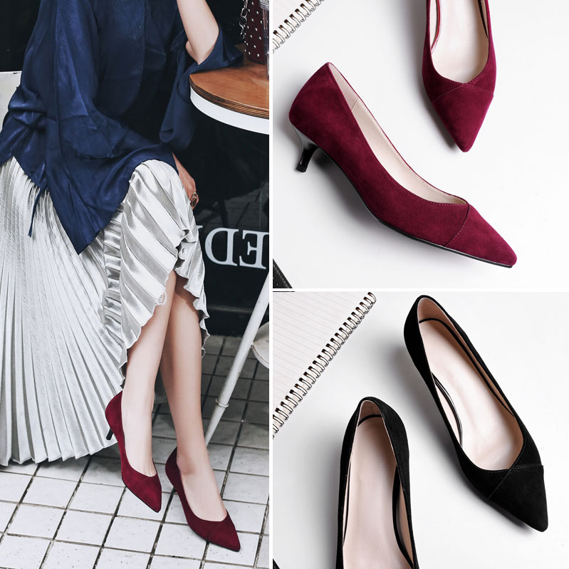 3cm high heels womens thin heel 3cm wine red wedding shoes brides shoes womens temperament pointed small heel low heel shoes