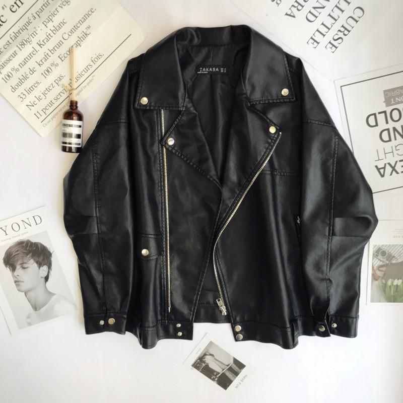 Student short oversize leather womens 2021 spring and Autumn New Korean loose BF locomotive jacket PU leather jacket