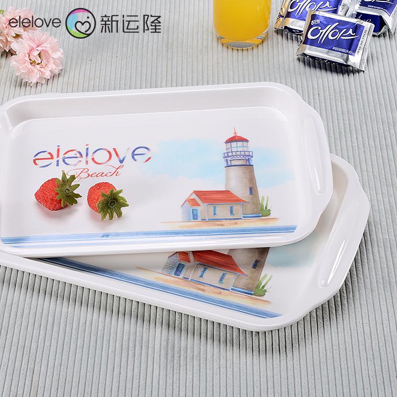 歐式長方形茶盤托盤密胺 塑料防瓷水果點心盤防滑加厚水杯托盤
