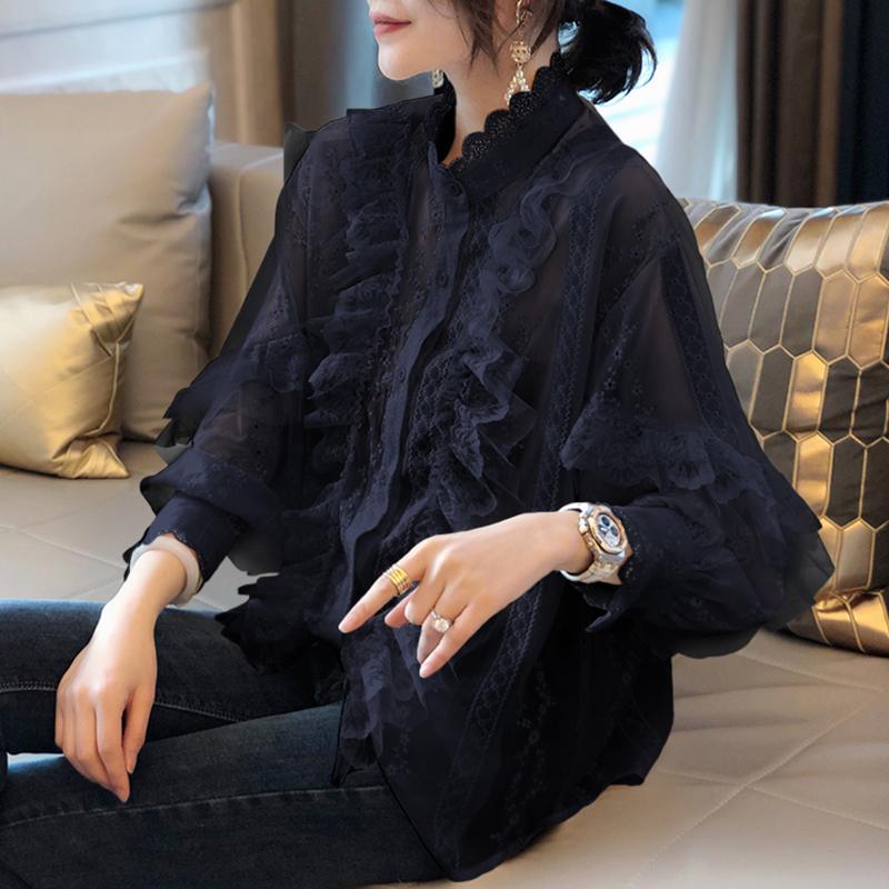 黑色蕾丝衬衫女宽松打底衫百搭洋气小衫欧洲站春秋装2021新款潮