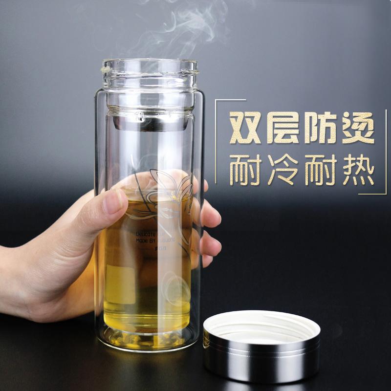 富光玻璃杯雙層過濾帶蓋水杯便攜男女辦公 杯子加厚耐熱泡茶杯