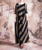 秋季新款原创大码女装棉麻长裙连衣裙拼接条纹显瘦廓形包身长袍子