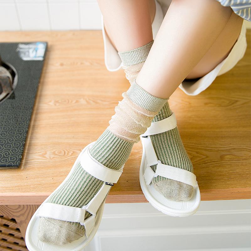 堆堆袜子女亮丝网纱拼接纯棉女中筒袜韩国学生短靴袜日系复古女袜(非品牌)