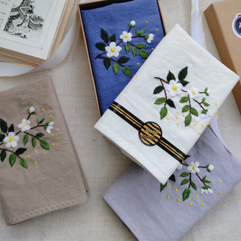 Lier hand embroidered imported cotton and hemp handkerchief DIY material bag / finished customized handkerchief gift male name