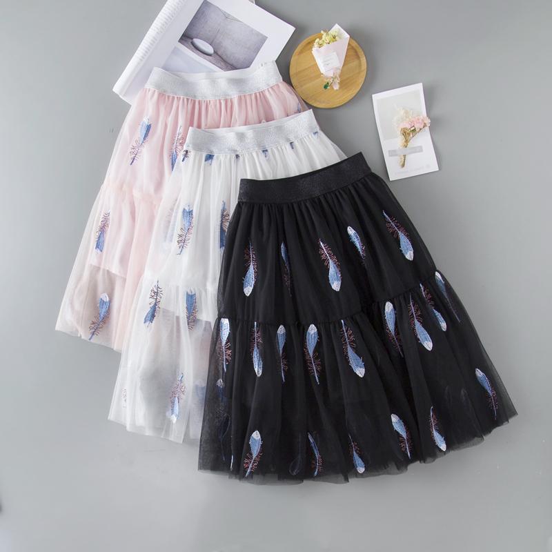童装女童半身裙春夏儿童网纱裙长裙女中大童蓬蓬裙亲子百褶裙短裙