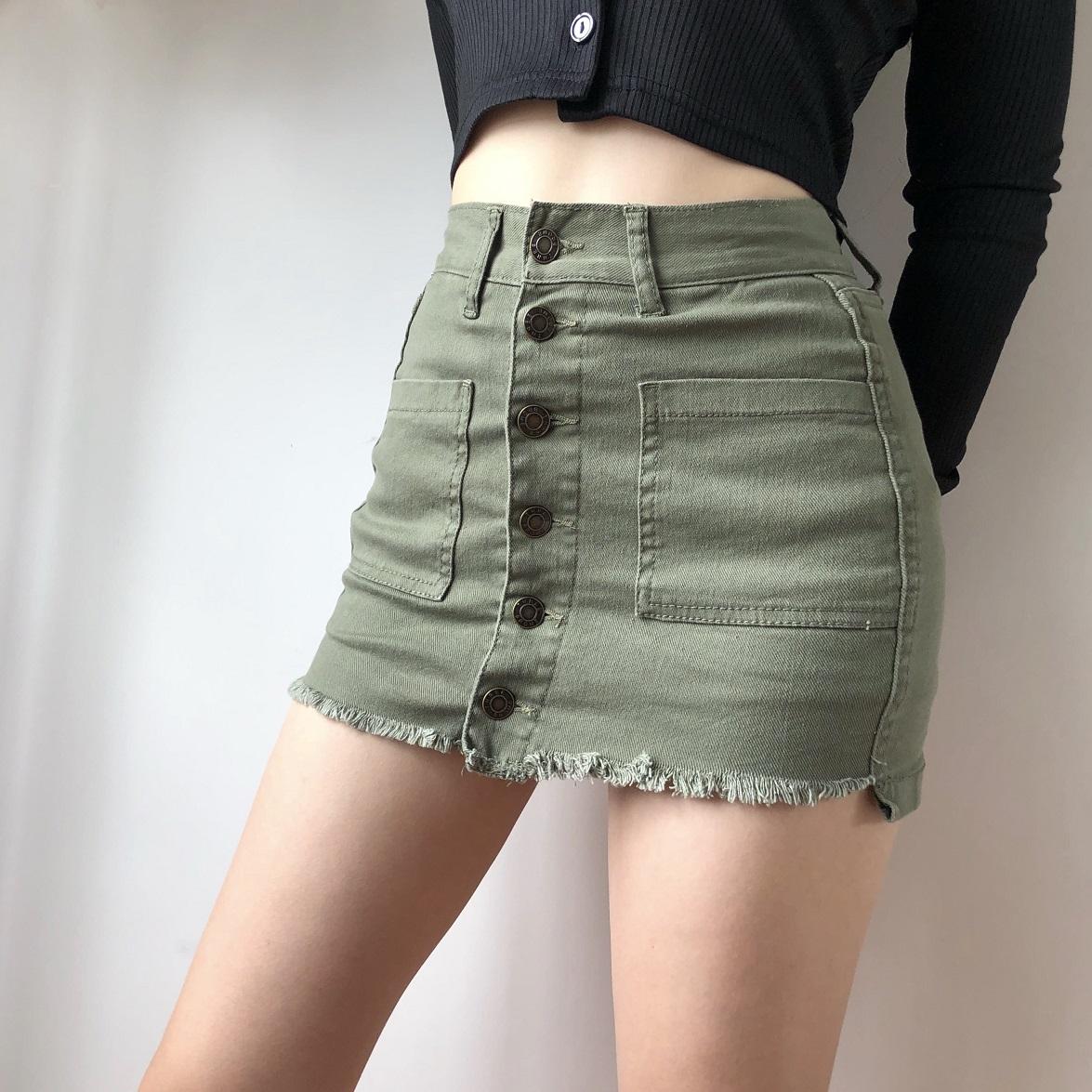 LIVIA欧美一排扣高腰包臀牛仔短裙显瘦显腿长a字半身裙防走光裙裤