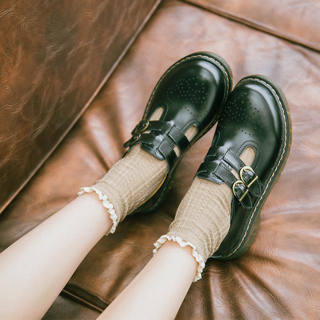 软妹ins复古布洛克小皮鞋日系玛丽珍chic搭扣学生平底森系单鞋女