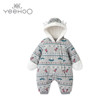 British baby Jumpsuit boys and girls winter cotton jacket Jumpsuit baby crawl jacket 1811A9029
