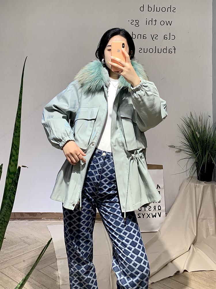 EC 艾蔻女派克服2020冬季新款女毛领派克服保暖时尚YSQZ94014070E