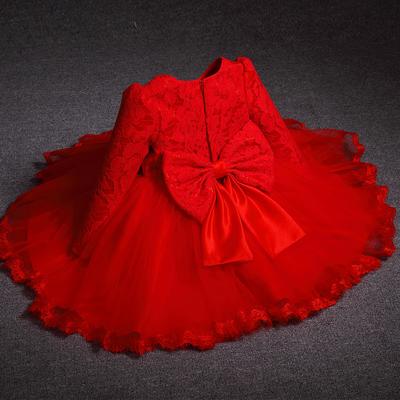 女童公主连衣裙蓬蓬纱裙子女宝宝儿童装洋气红礼服春秋装小童秋冬