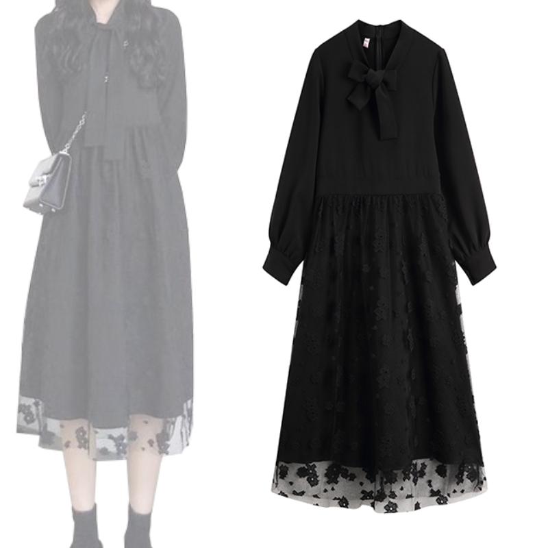 维多利亚宫廷法国小众法式复古收腰过膝山本很仙连衣裙长裙秋冬季