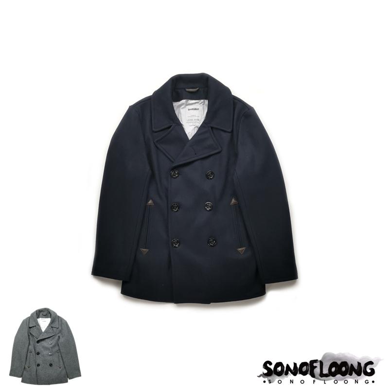 SONOFLOOG重磅羊毛呢740海军大衣加厚pea coat双排扣修身复古RRL