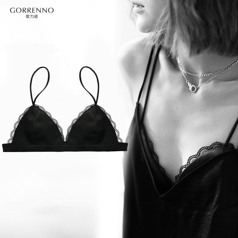 歌力诺文胸少女法式平胸内衣无钢圈三角杯超薄款小胸bra性感胸罩