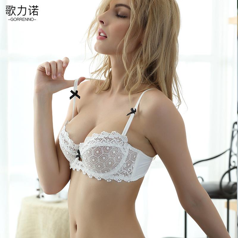 歌力诺文胸套装超薄款白色蕾丝性感半杯胸罩小胸透明女士内衣内裤