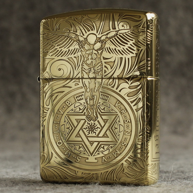 Genuine Zippo windproof lighter pure copper five sided armor surrounded by etched guardian angel Jesus good luck gift