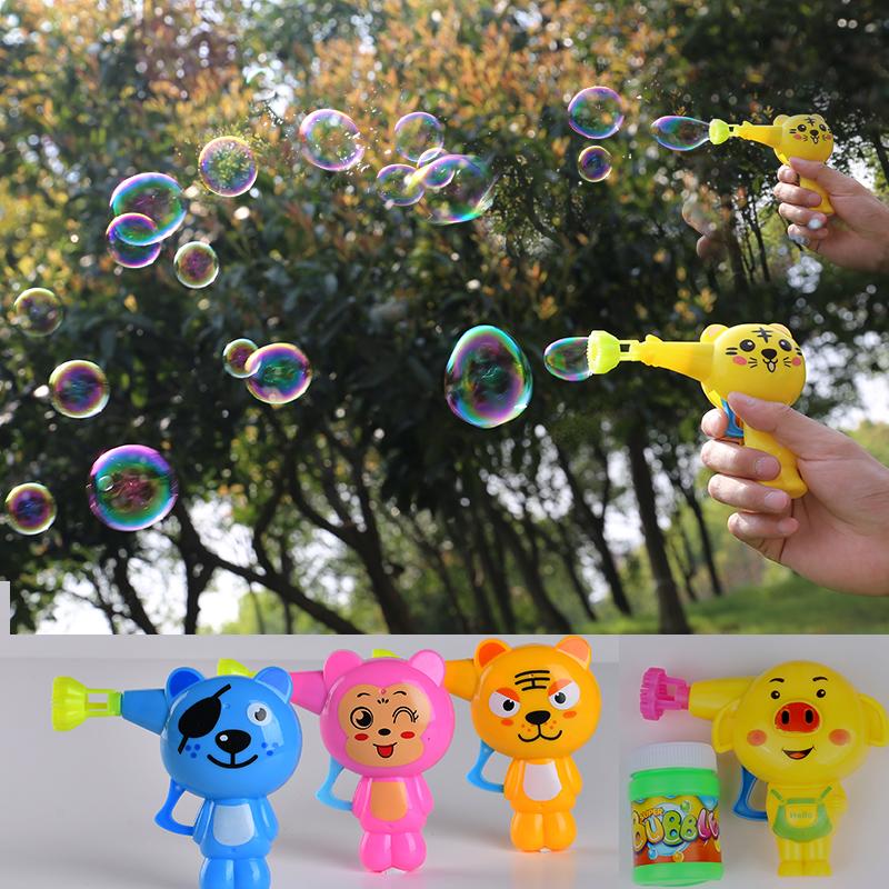泡泡枪卡通儿童玩具夏季小孩礼物带动泡泡液吹手压惯性泡泡机批发