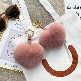 獭兔毛爱心挂件 皮草毛绒球 桃心饰品包包挂饰心形挂件汽车钥匙扣图片