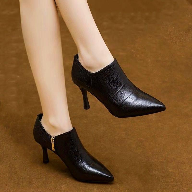 雪地意尔康高跟单鞋女细跟2021春季新款真皮深口女鞋尖头中跟皮鞋