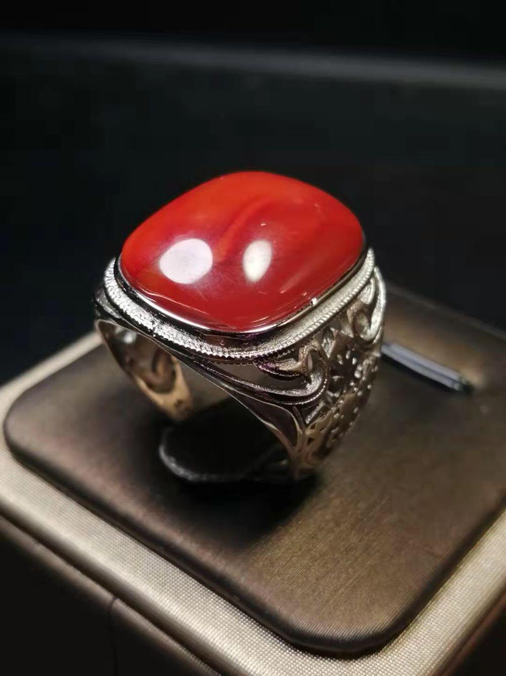 凉山南红玛瑙戒指天然川料满肉柿子红霸气时尚保真男士红宝石戒指
