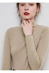 针织衫中款气质女洋气秋冬上衣内搭打底软糯羊毛百搭半高领毛衣潮