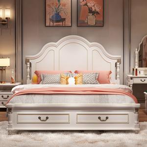 美式床1.8米双人床实木床白色公主床轻奢婚床欧式床现代卧室家具