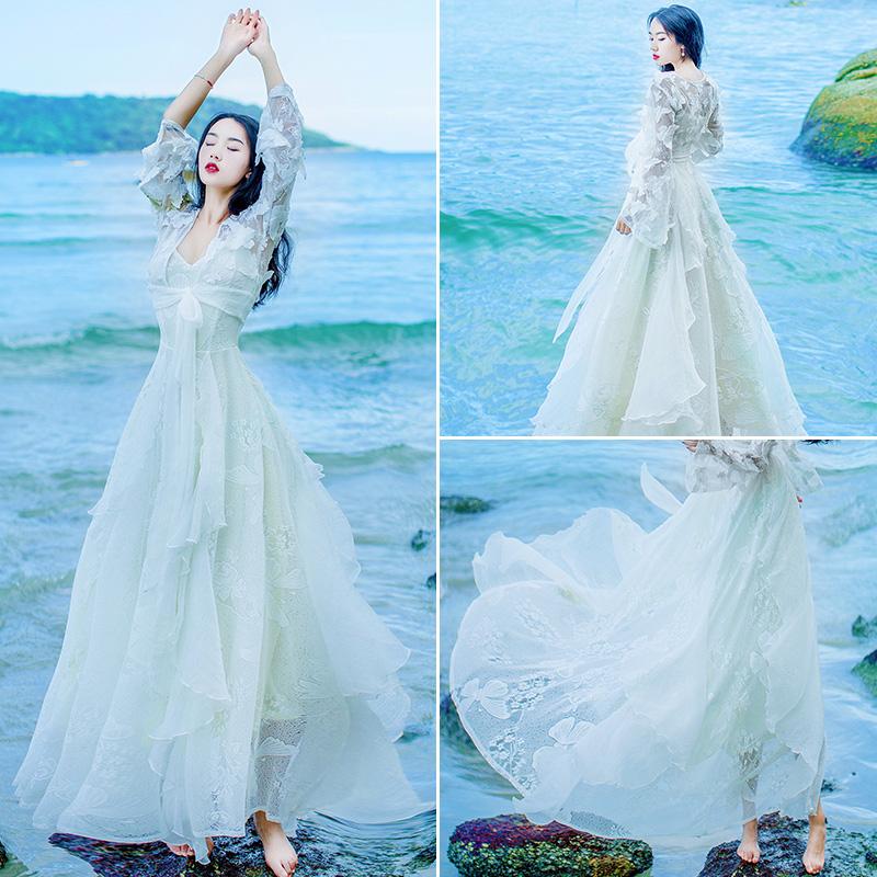 青海湖旅游女装衣服云南出游拍照必备茶卡盐湖裙子草原长裙夏季仙