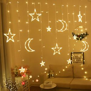 led星星月亮彩灯串灯闪灯满天星窗帘网红卧室浪漫房间创意装饰灯