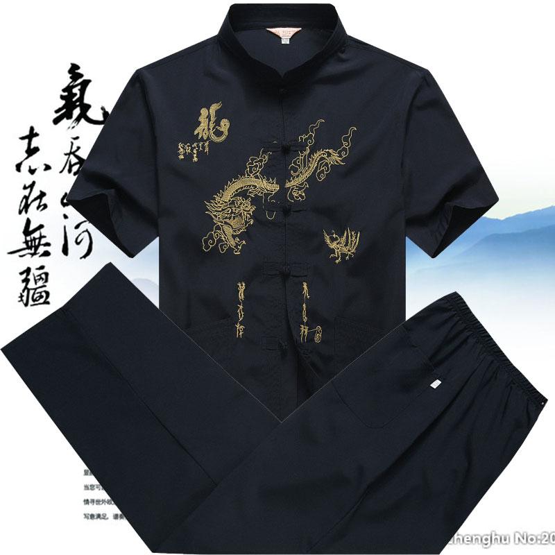 唐装男套装短袖中国风爸爸装夏季中老年人60-70-80岁爷爷老人衣服