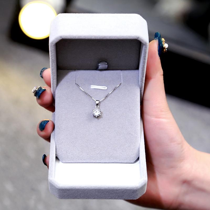 925纯银 精致简约水钻吊坠 单钻项链 锁骨链 韩国女银饰 生日礼物