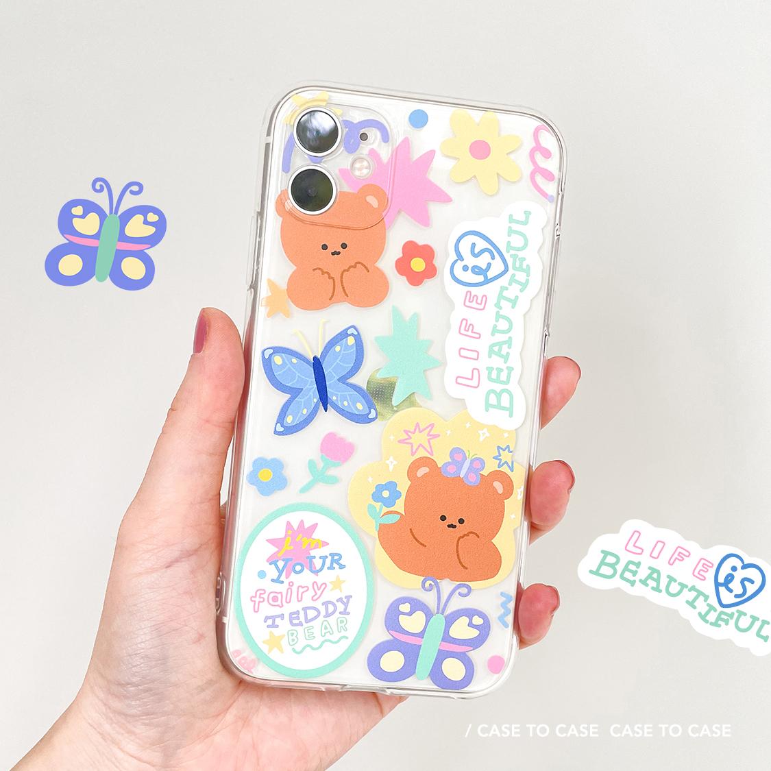 タオバオ仕入れ代行-ibuy99 iphone 可爱紫色蝴蝶小熊iphone12手机壳苹果11透明X华为P40Pro软Mate40