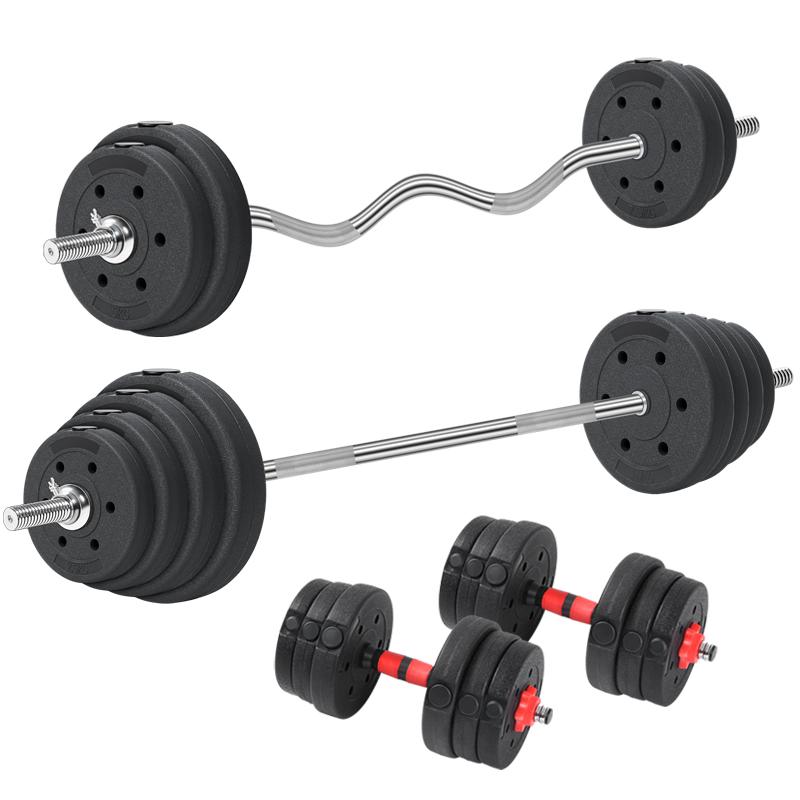 家用环保杠铃套装 包胶哑铃两用组合举重健身器材50公斤60/100kg