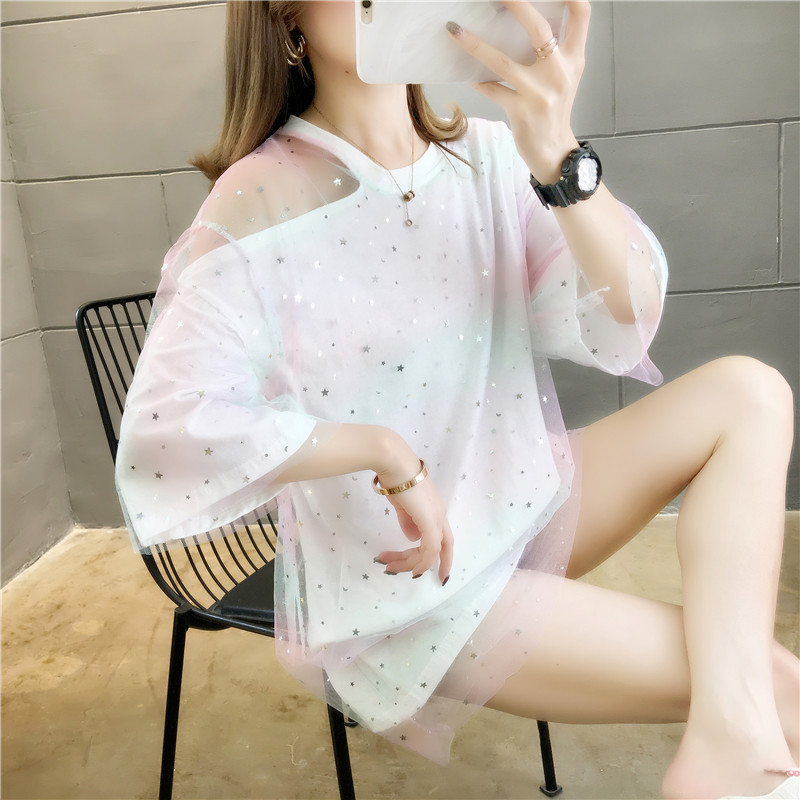 Pure cotton 2020 summer ins net red T-shirt womens short sleeve super fairy heart machine style womens net yarn womens off shoulder clothes