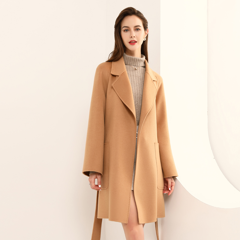 Cashmere wool coat womens Blended double-sided wool coat medium long suit collar big open pocket lace up leisure 261