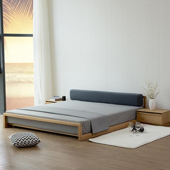 实木榻榻米橡木民宿落地矮床北欧黑胡桃木儿童床1.8米双人床 日式