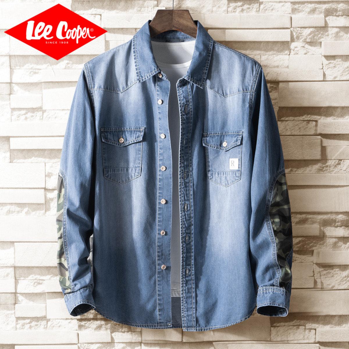 Lee Cooper 迷彩拼接青少年长袖衬衣纯棉潮流薄款牛仔男士衬衫