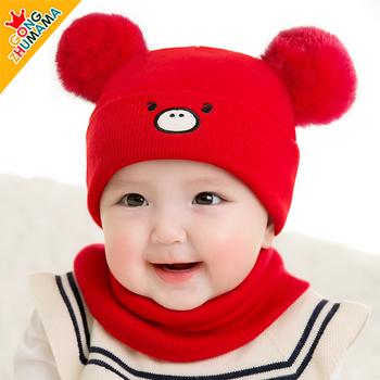 秋冬季婴幼儿0-3-6月加绒婴儿帽子