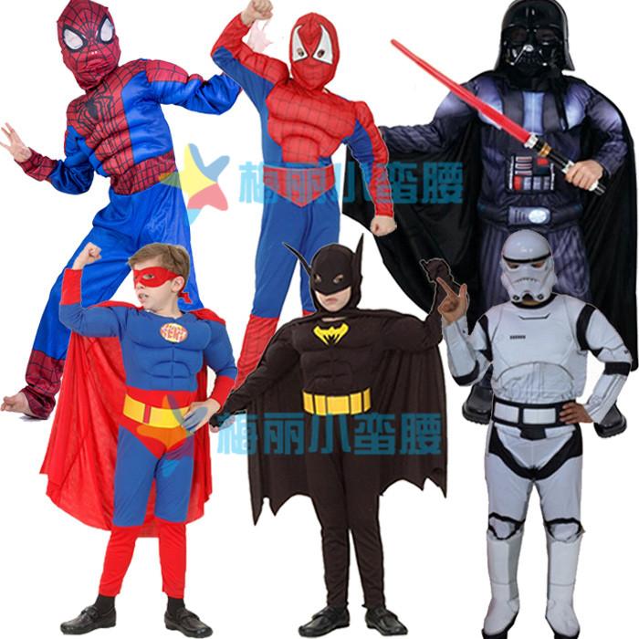 六一节超级英雄服装漫威儿童美国队长服装大黄蜂超人钢铁侠蜘蛛侠