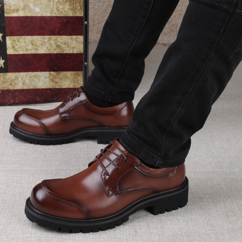 Business big head leather shoes mens British fashion round head leather shoes mens high leisure mens shoes wedding trend in spring and Autumn