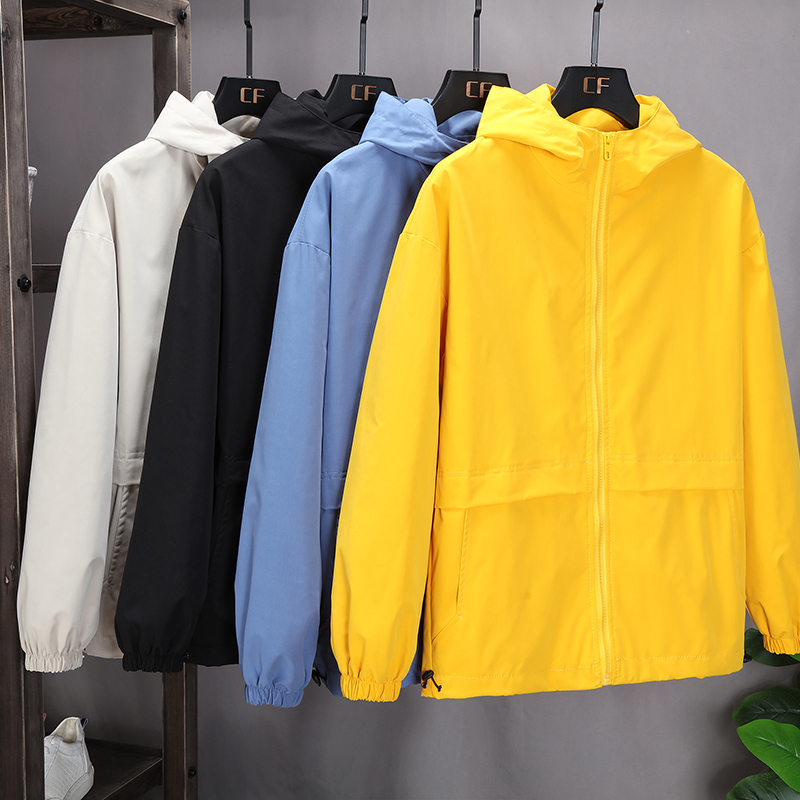 Windbreaker mens and womens hoods spring and autumn loose and handsome couples clothes student trend outdoor windbreaker class clothes customization