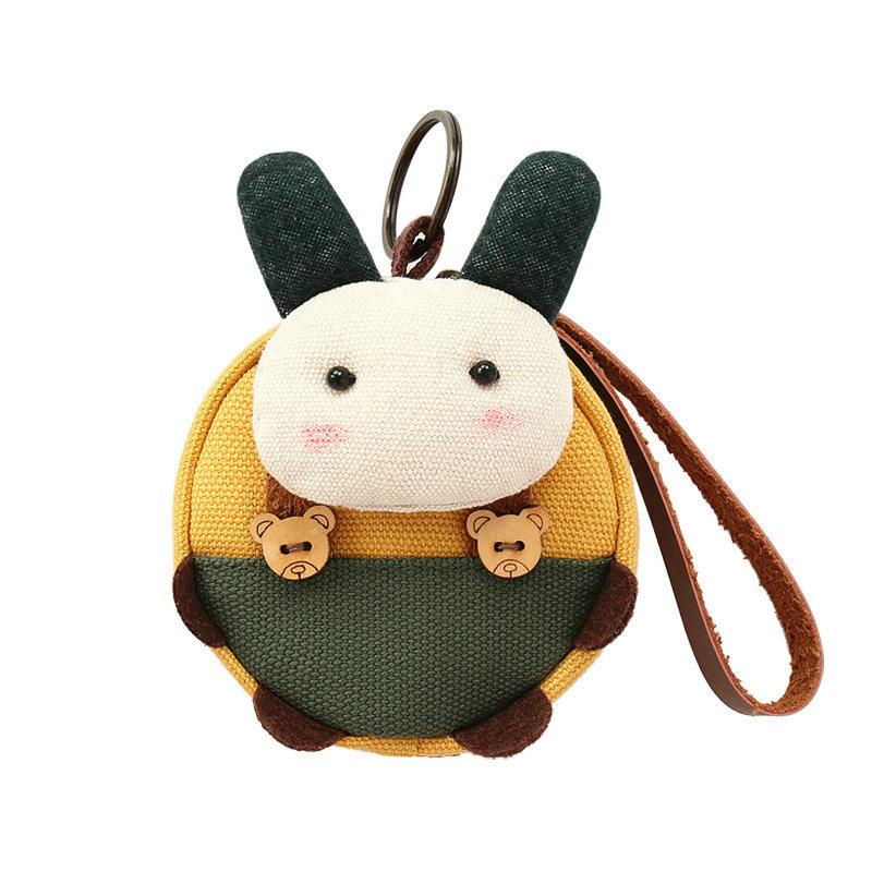 多乐象钥匙零钱包三色补丁韩版卡通可爱小零钱袋女帆布钥匙硬币包