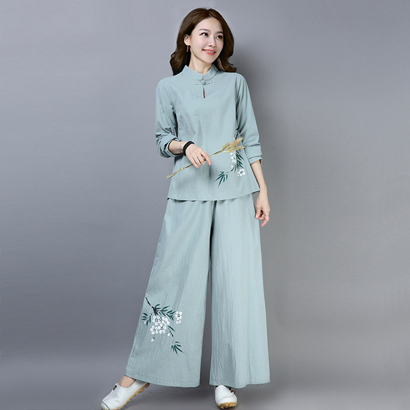 Chinese style tea artist's clothing spring and autumn meditation clothes female cotton and linen suits lay clothes Zen sense