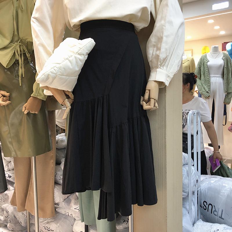 2019秋季TRUST ME新款百搭纯色高腰不规则荷叶边下摆开叉半身裙女