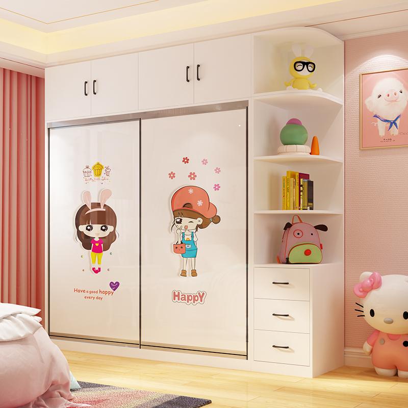 儿童衣柜实木推拉移门卡通女孩女童简约现代卧室组装公主女生衣橱