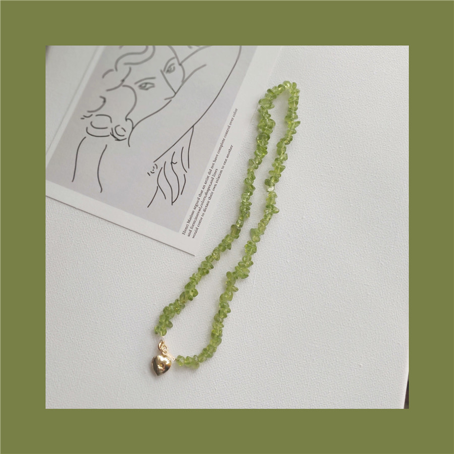 Original August Birthstone American 14K gold wrapped natural green olivine crystal love female Necklace clavicle chain