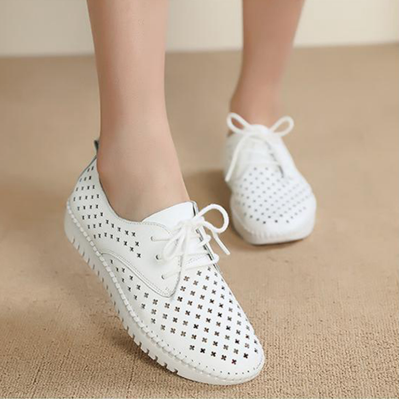 Womens summer flat bottom casual leather lace up perforated mesh breathable cool shoes womens white hollow hole sandals
