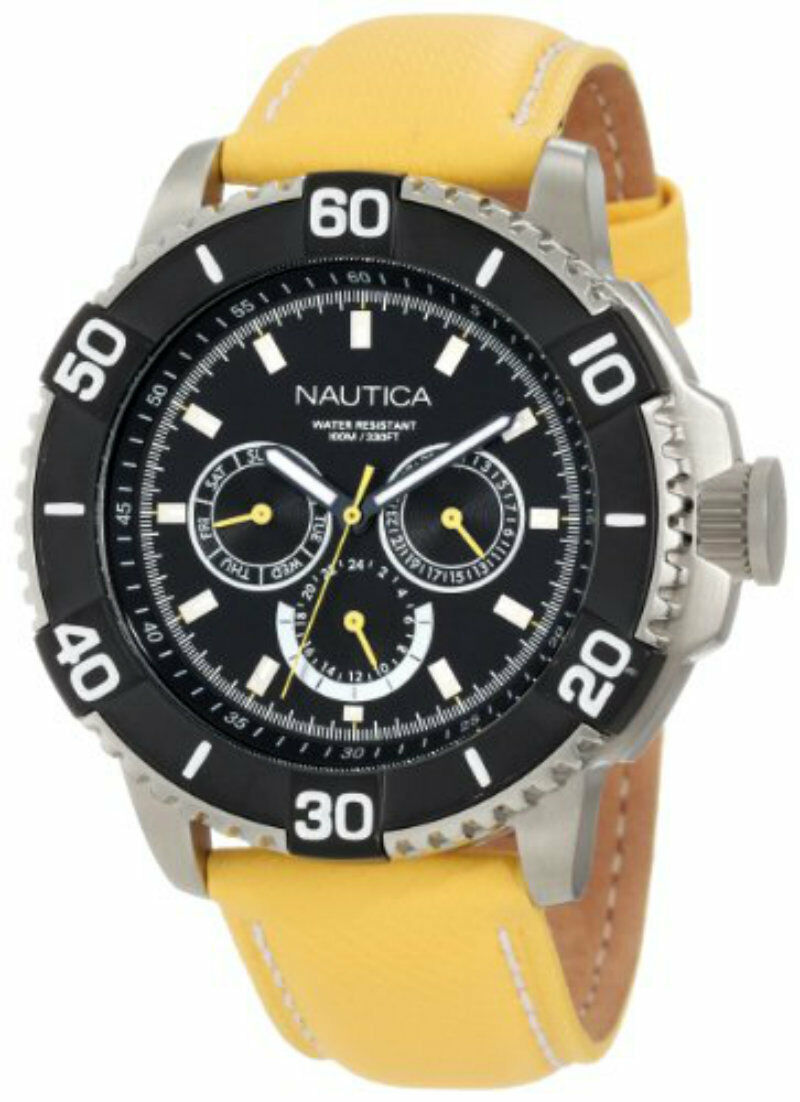 Nautica mens yellow rubber classic multifunction watch NST 501 n17604g