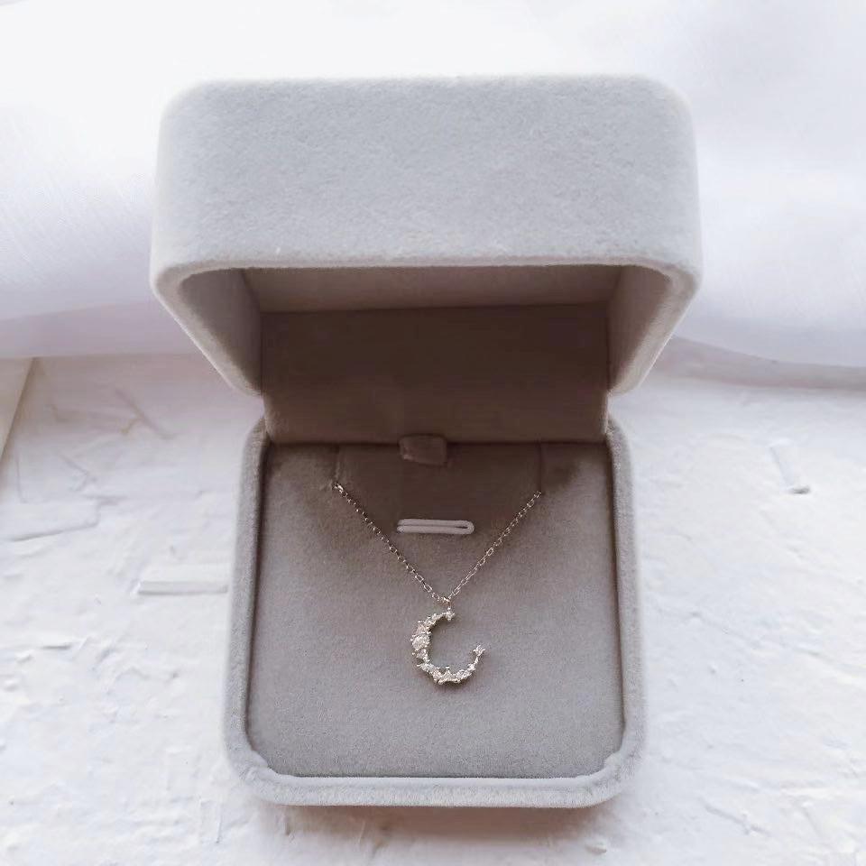 [七宝家饰品店项链]S925纯银闪钻不规则月牙气质月亮项月销量276件仅售29元