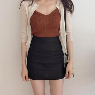 包裙女黑色短裙職業高腰一步彈力半身裙短款a字緊身性感包臀裙秋