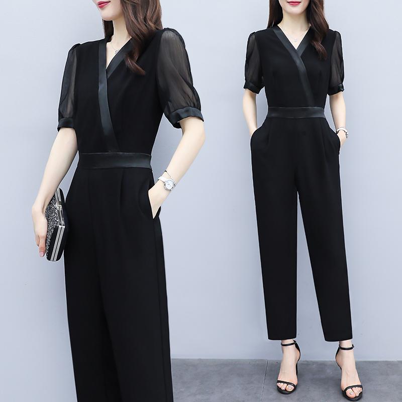 气质黑色连衣裤雪纺V领高腰显瘦短袖小脚萝卜休闲连体裤套装女夏